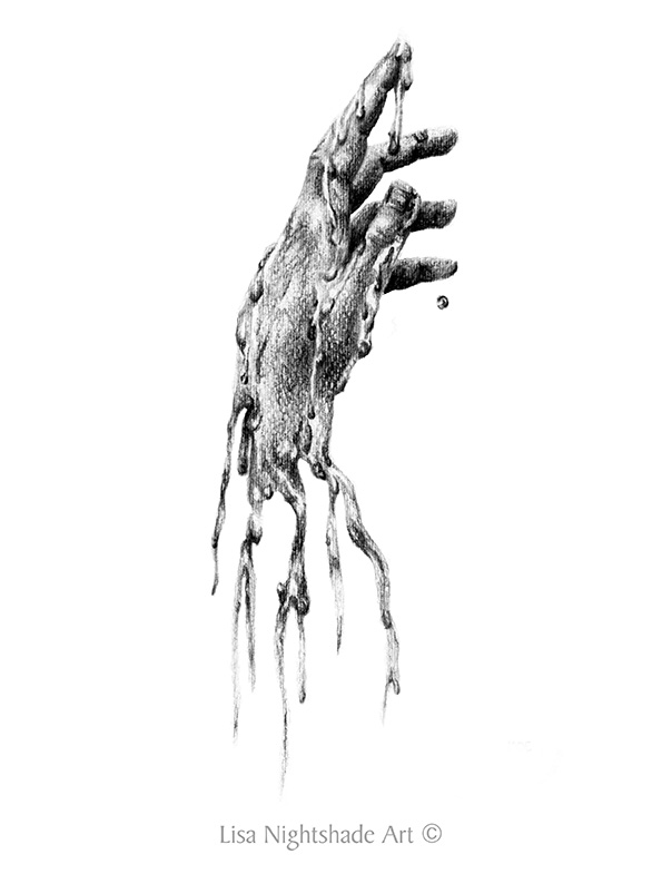 Anatomy in Destruction: Melting Hand - Lisa Nightshade Art